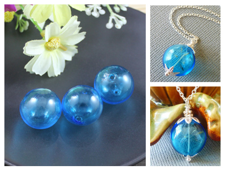 20MM Blue Glass Globe Pendant With Opening hole on both ends