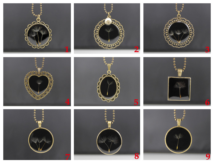 Black resin necklace with true dandelion seeds(9 Designs available)