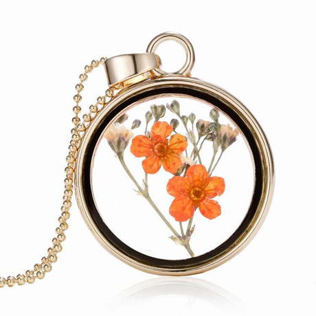 Natural pressed flower floating locket necklace