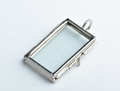 4.6x2.5CM Small Rectangle Glass Lockets Pendants