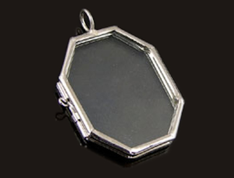 5x4CM Eight Edge Glass Lockets Pendants