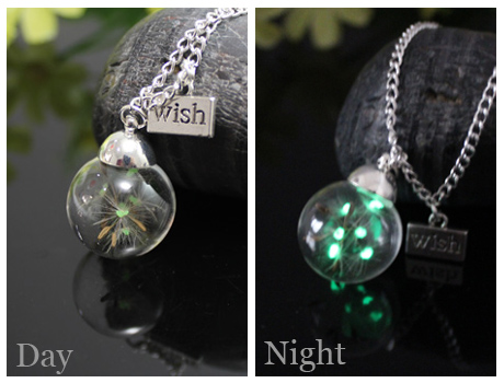 20/25MM Glass Ball Glowing dandelion Seeds necklace