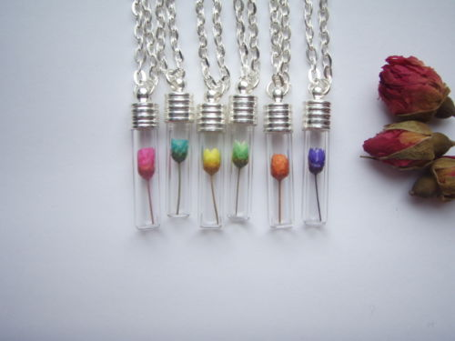 6/8MM Falt Bottom Glass Tube Real Flower Necklace