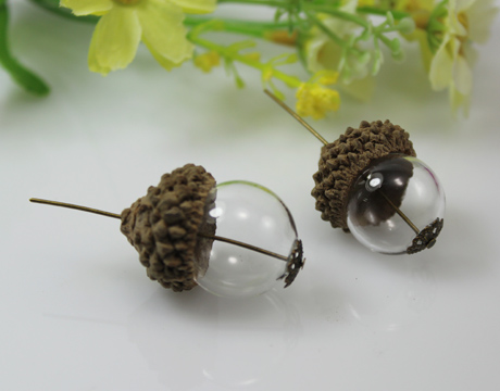 18/20/25MM Both Ends Opening Glass Ball With Natural Acorn Caps