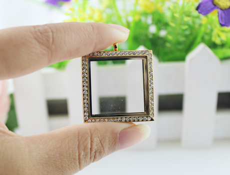 30X30MM Square Glass Locket Frame Pendants(2 colors available)