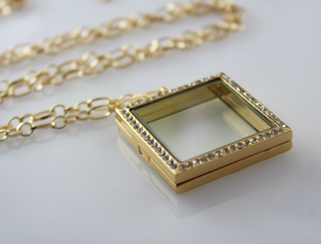30X30MM Square Glass Locket Necklace(2 colors available)