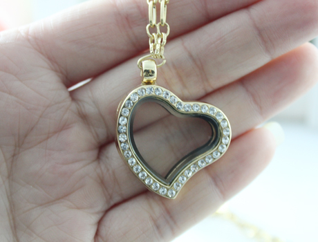28X27MM metal glass box Lockets Necklace (4 colors available)