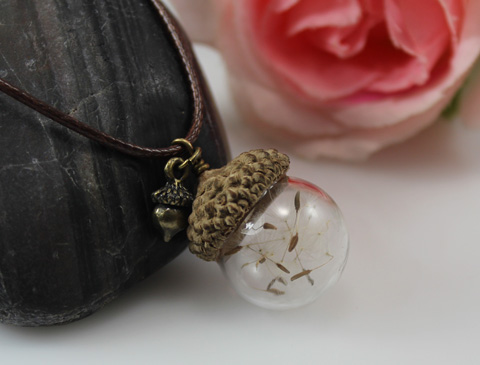 18/20/25MM Glass Ball Acorn Necklace with Dandelion Real Seed