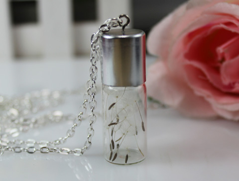 45x15MM Glass Bottle Dandelion Real Seed Necklace