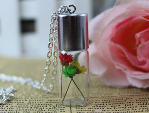 45x15MM Glass Bottle Real Flower Necklace