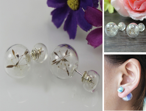 Double Ball Earrings with Dandelion Seeds
