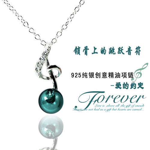 925 Sterling Silver Perfume Ball Musical Note Necklace