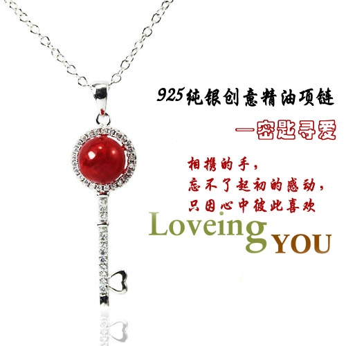 925 Silver Keychain Necklace with Perfume Ball
