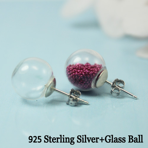 Glass Ball 925 Sterling Silver Earring (sold per pair)