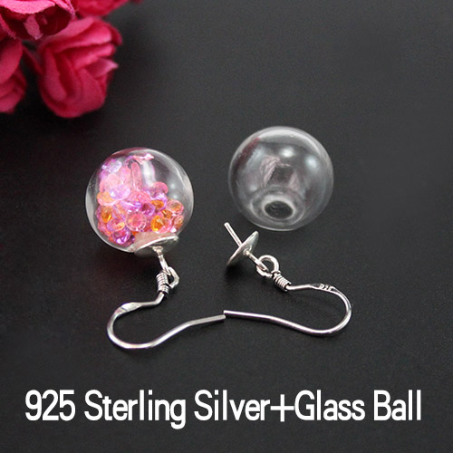 14/16MM Glass Ball 925 Sterling Silver Earring