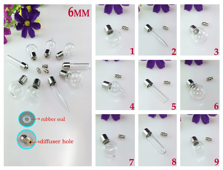 6MM Essential oil bottle pendant With Diffuser Hole(Preglued nickel-plated screw caps)