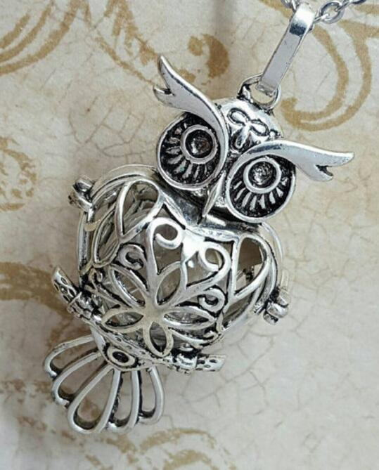Owl Locket with Fillable Glass Orb  Keepsake Jewelry  Urn Jewelry Cremation Jewelry  Owl Necklace