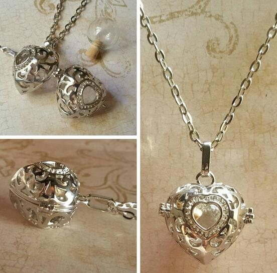 Antiqued Heart Locket with Fillable Glass Orb Keepsake Locket Heart Locket Urn Jewellery Heart Necklace