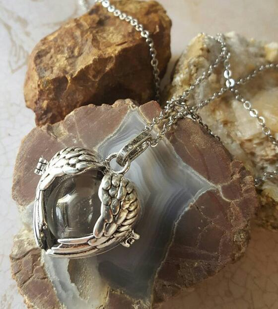 Antiqued Broze Tone Angel Wings Memorial Locket with Fillable Glass Orb  Keepsake Jewelry  Urn JewelryAngel Wing Urn