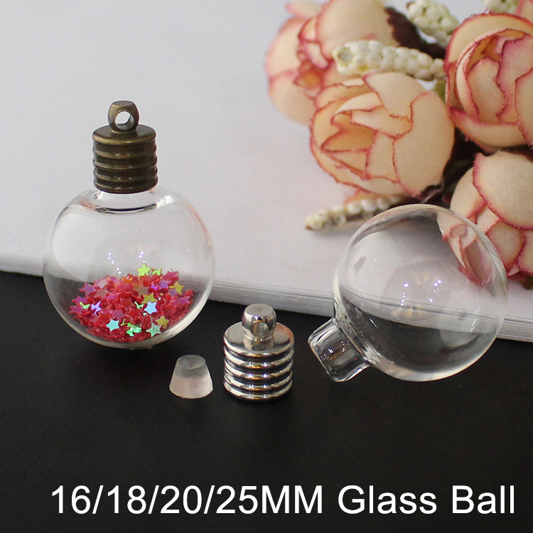 11/14/16/18/20/25MM Glass Ball With Silver/Bronze Caps