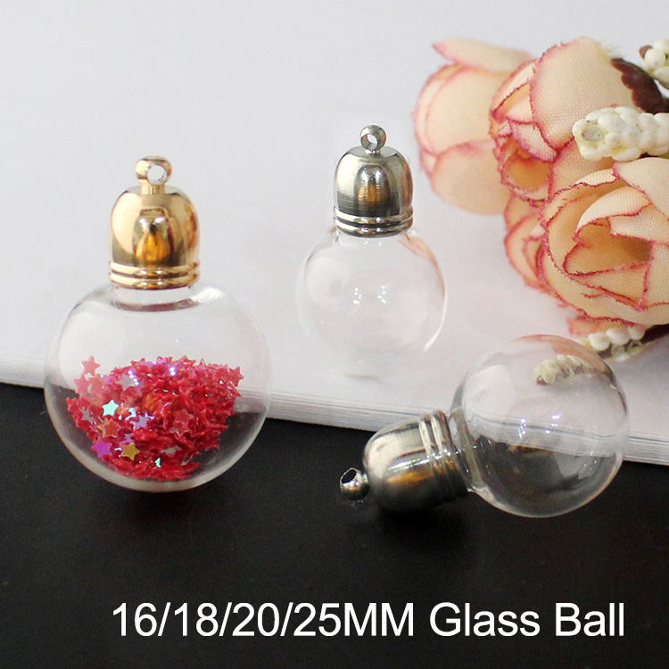 Glass Globe Ball With Metal Round Caps